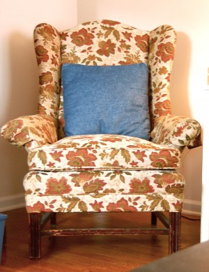 thrift store wingback chair