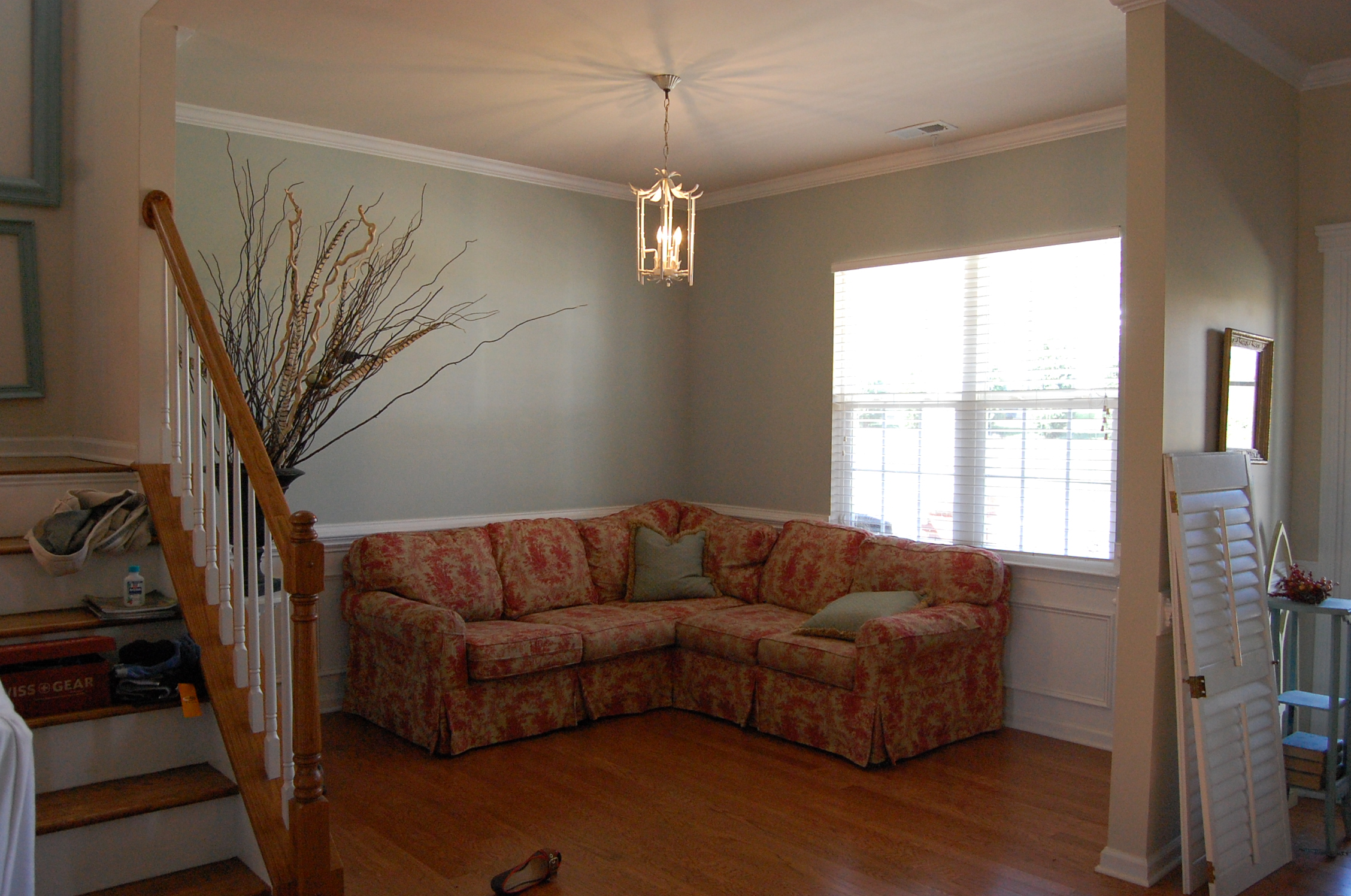 Red toile and robin s egg blue - Sherwin williams comfort gray living room ...