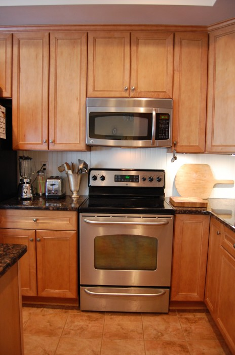 Making Over a Renter's Kitchen on beadboard kitchen walls, beadboard butcher block kitchen, beadboard kitchen cabinets,