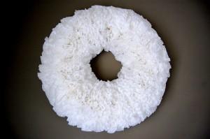 hot glue a coffee filter wreath