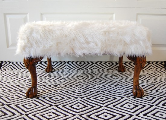 fur chair :: no sew reupholstery