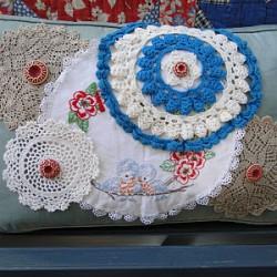 Button Bird Doily Pillow