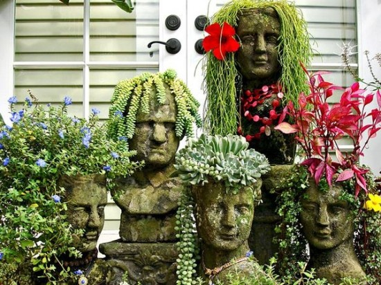 Delightful Head Planters Found Here And Here (lots Of Photos With Different Kinds Of  Plants And Accessories) Pictures