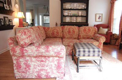 remember how this sofa used to look itu0027s toile underneath but after an afternoon with the slipcover whisperer and 10 willing sewers we got thisu2026