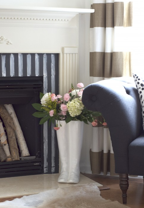 taped fireplace