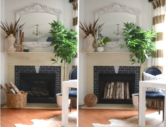 fireplace with and without wood