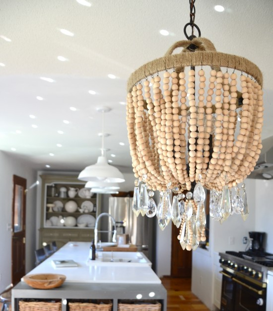 wood bead chandelier with crystals DIY