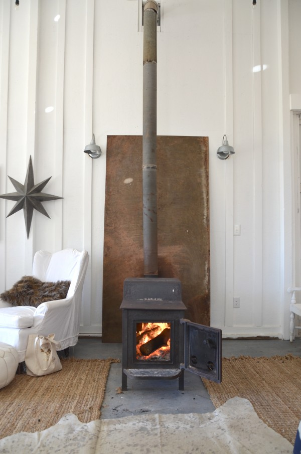 wood stove in the barn