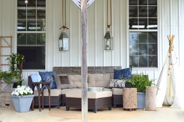 barn porch decorated