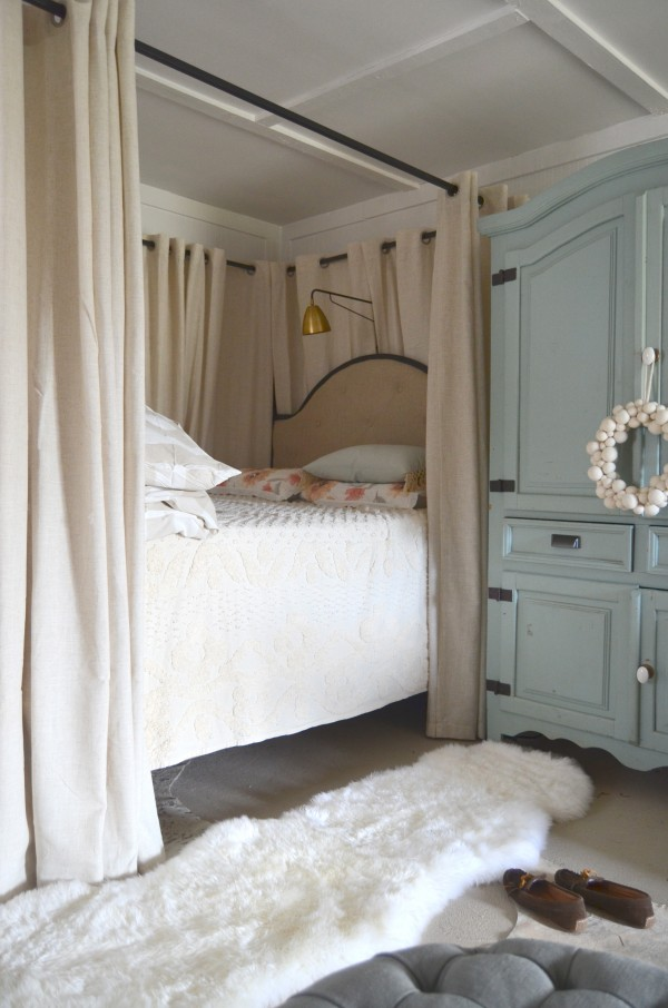 Vintage My goal make it fy and cozy starting with the bed