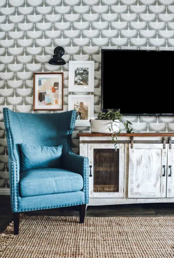 Family Room Makeover with Temporary Wallpaper // Nesting With Grace