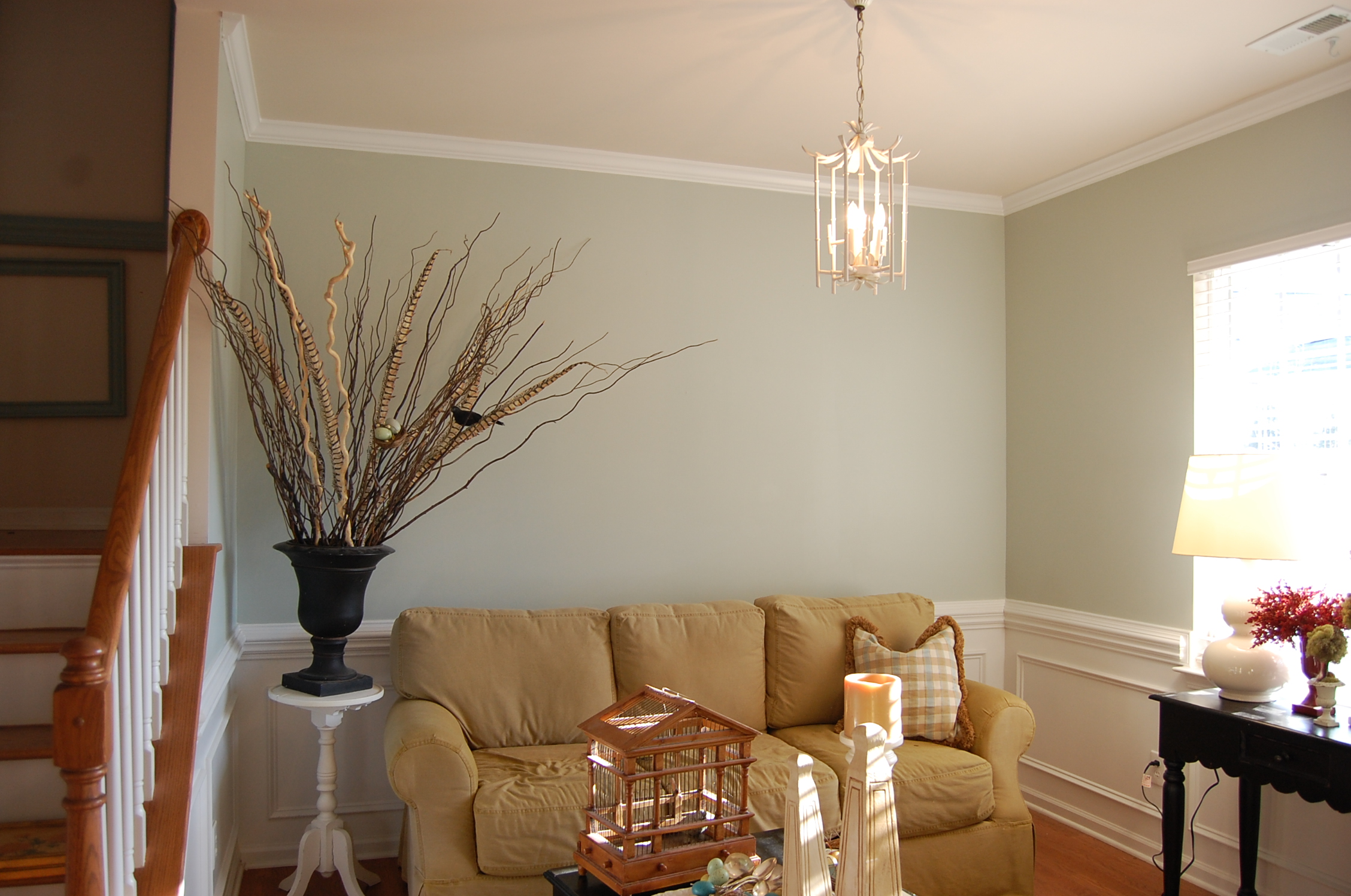 By the way the color i used in the front room is sherwin williams comfort gray 6205 its a beautiful warm blueish gray that looks nice paired with crisp