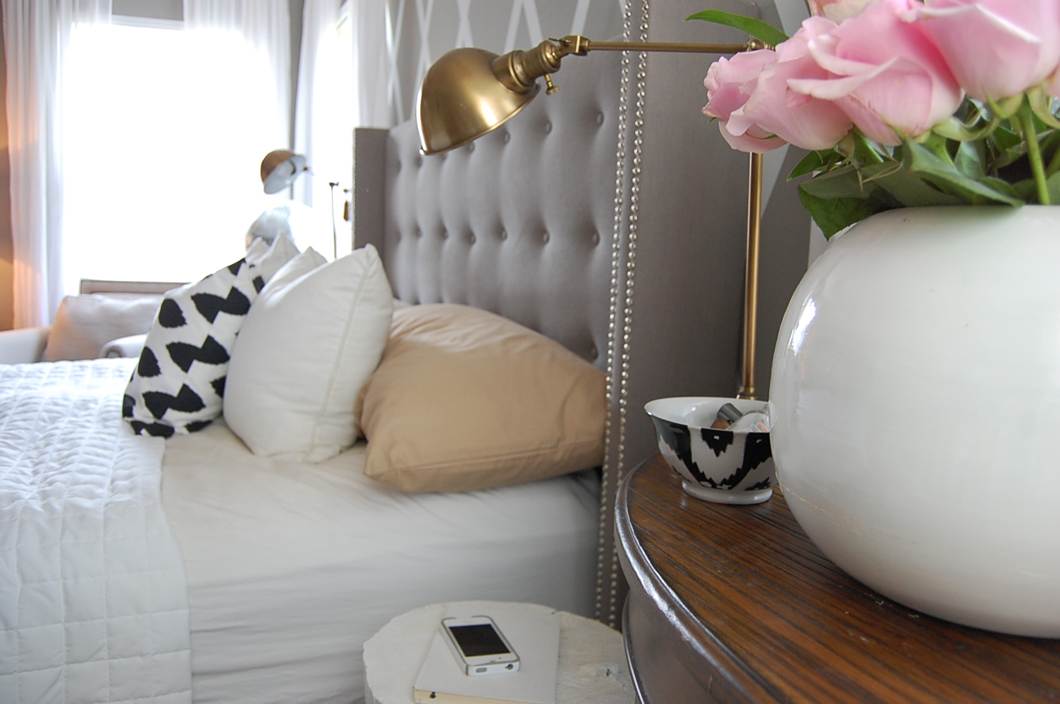 My Tufted Bed A Review Of The Skyline Linen Nail Button Wingback Nesting Place