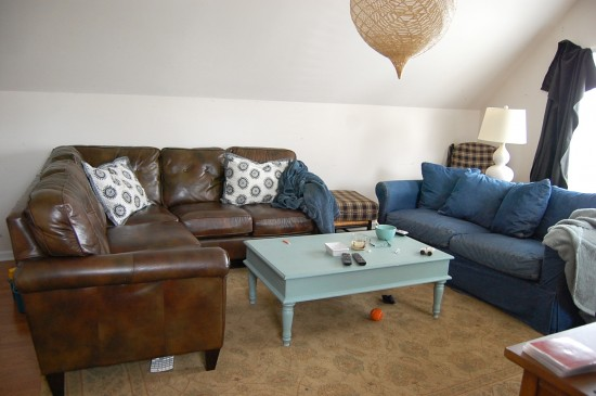 Mismatched Leather Sofas