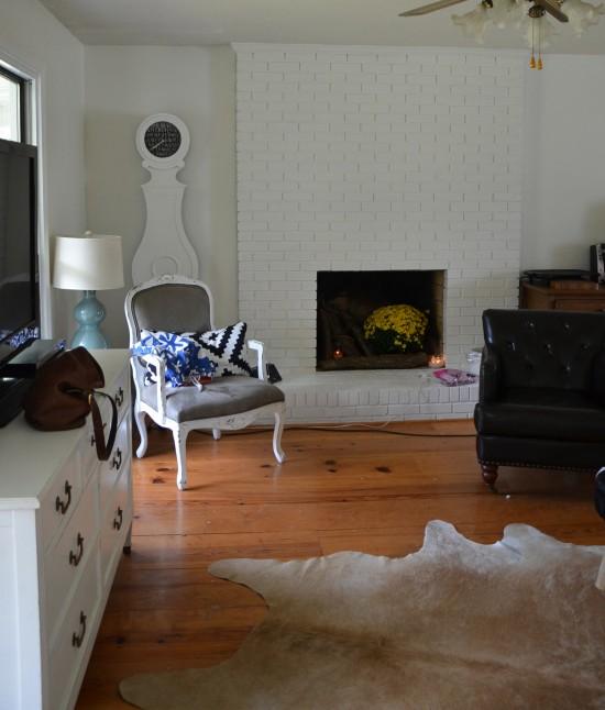 fireplace, unmanteled