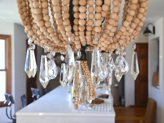 wood & crystal chandelier