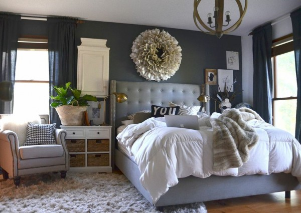 dark grey master bedroom