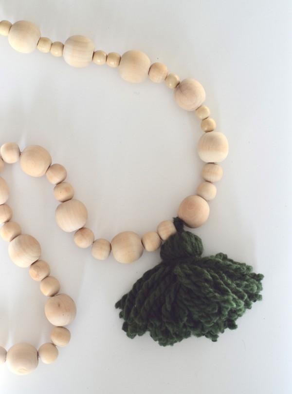 wood beads & tassel