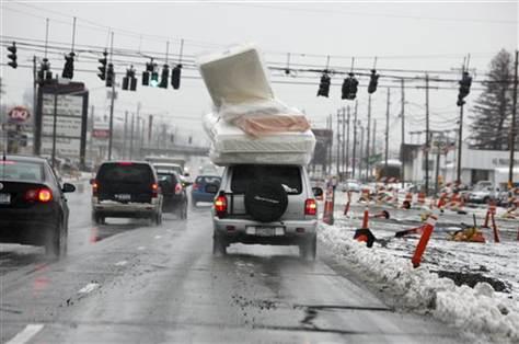 mattress on a car